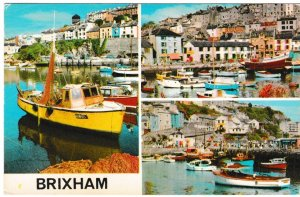 Postcard Devon Brixham 3 views Colourmaster