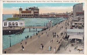 New Jersey Atlantic City Boardwalk Scene Showing Heinz Garden Pier And The Br...