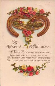 A Happy Birthday, Gods Blessing rest upon you, roses, flowers 1921