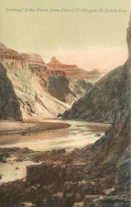 Hand Colored Postcard Looking up River From end of Trail Grand Canyon AZ Verkamp