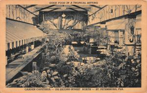 Garden Cafeteria, St. Petersburg, Florida, Early Postcard, Unused
