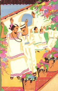 The Jarana Dance From Yucatan, Mexico ca 1930s Vintage Colorful Art Postcard