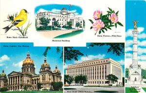 State Capitol Des Moines State Flower Rose Brid Goldfinch Memorial Iowa Postcard