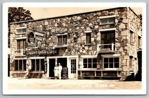 Lake Ozark Missouri~Copper Kettle Cafe~Neon Signs~Owners Out Front~1941 RPPC