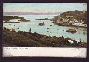 P1540 old unused postcard birds eye view tarbert harbour Argyll, Scotland