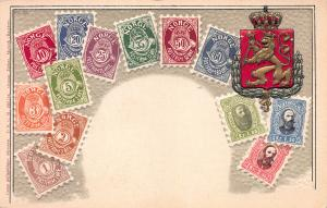 Norway, Classic Stamps in Actual Colors, Early Embossed Postcard, Unused