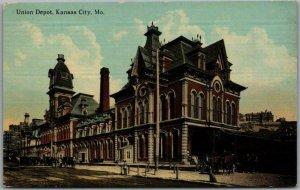 1910s Kansas City, Missouri Postcard UNION DEPOT Railroad / Train Station Unused