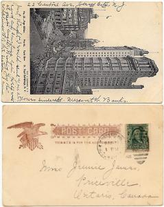 USA to Canada - 1905 View Card Post Office N.Y.