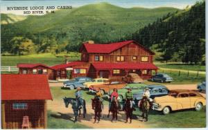 RED RIVER, NM New Mexico   RIVERSIDE LODGE   c1940s Cars Roadside Linen Postcard