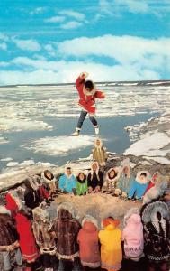 AK, Alaska WIEN AIR ARCTIC TOURS Tossing Child~WALRUS SKIN BLANKET 1967 Postcard