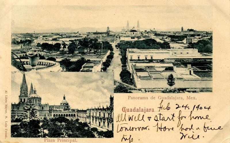Mexico - Guadalajara. Panoramic View, Plaza Principal, circa 1904