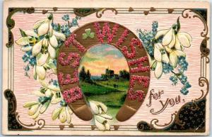 Vintage Greetings Embossed Postcard BEST WISHES Floral Letters Horseshoe 1923