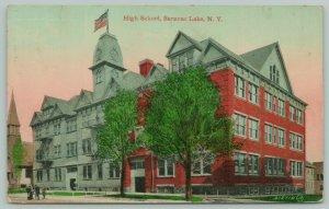 Saranac Lake New York~Shade Trees Cast Shadow on High School~Mansard Roof~1911