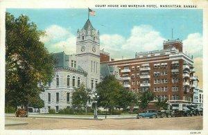 Manhattan Kansas~Model Cars Parked at Court House And Wareham Hotel~1920s