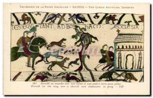 Postcard Old Bayeux Tapestry Harold Queen sees running a church and sets foot...