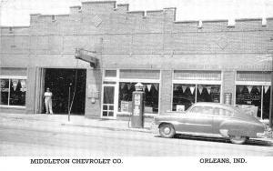 Orleans IN Middleton Chevrolet Dealership Gas Pumps Postcard