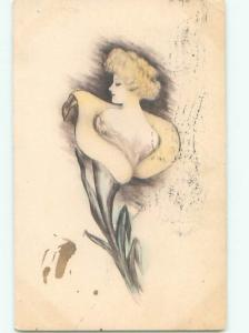 Divided-Back PRETTY WOMAN Risque Interest Postcard AA8057