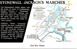 Virginia Shenandoah National Park Civil War Marker Map Of Stonewall Jackson&#...