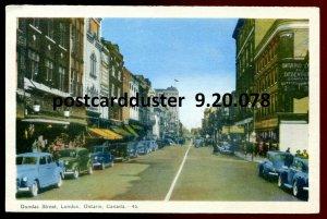078 - LONDON Ontario Postcard 1940s Dundas Street by PECO