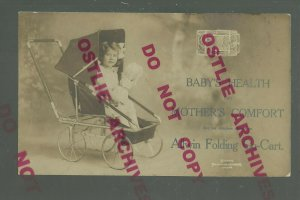 Easthampton MASSACHUSETTS RPPC c1910 ADVERTISING BABY STROLLER Allwin Cart