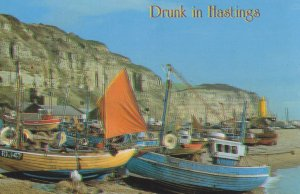 Drunk In Hastings Sussex Blurred Vision Fishing Boats Postcard
