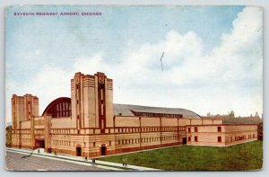 Chicago Illinois~Seventh Regiment Armory~People on Sidewalk in Front~1911