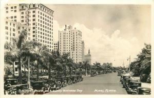 Autos Biscayne Blvd 1930s Sunny Winters Day Miami Florida RPPC real photo 6548