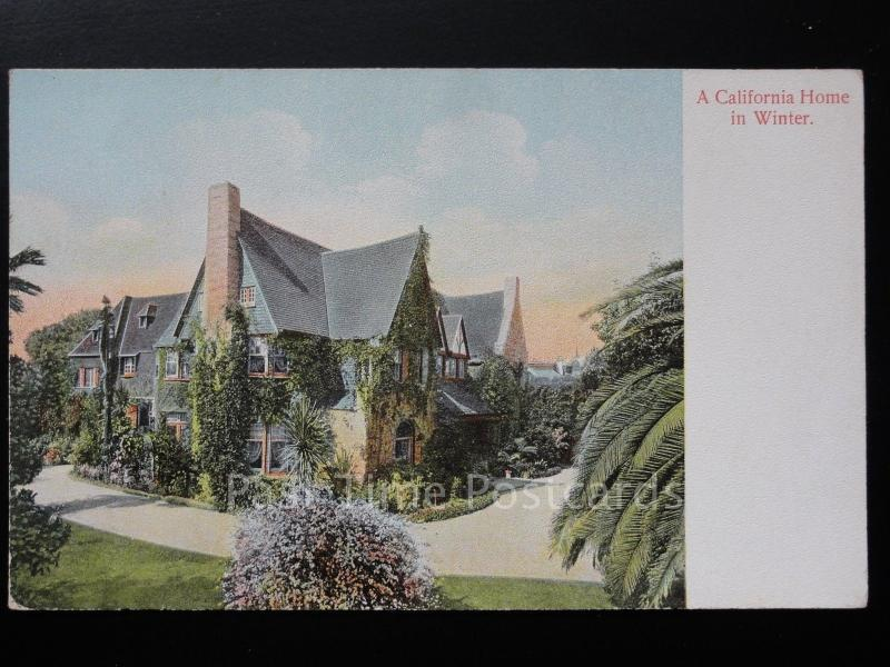 USA: A California Home in Winter, Old Postcard