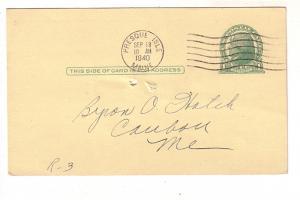 Postal Stationery Jefferson 1C Byron Hatch,  Presque Isle Maine Cancel 1940  ...