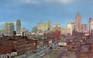 SKYLINE OF DETROIT Michigan from West Fort Street c1950s Vintage Postcard