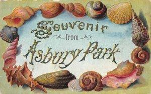 Asbury Park New Jersey Greetings Seashell Border Vintage Postcard JH230665