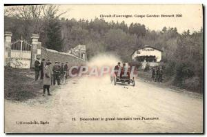 Postcard Old Cars Tour d & # 39Auvergne Gordon Bennett Cup in 1905 Descending...