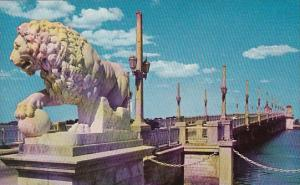 Florida Saint Augustine Bridge Of Lions Spans Matanzas River To Anastasia Island