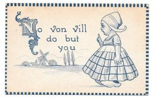 Dutch Kid Girl No von vill do but you Vintage 1912 Postcard