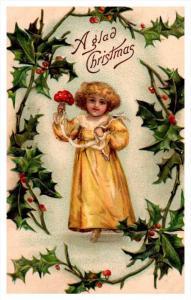 20210   Christmas,  victorian  girl holding Mushroom