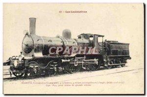 Postcard Old Train Locomotive Compound