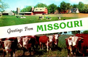 Greetings From Missouri With Farm Scene and Cows