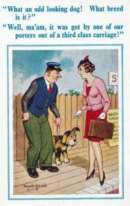Railway Station Attendent & Dog Porter Rude Talk To Lady Comic Humour Postcard