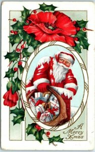1914 Whitney Christmas Postcard SANTA CLAUS / Red Poppy Flower / Holly Leaves