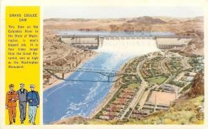 Washington~Grand Coulee Dam~Soldier, Sailor, Marine~Columbia River~1920 Postcard
