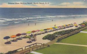 General View, Bathing on the Beach, Myrtle Beach, South Carolina, PU-1952