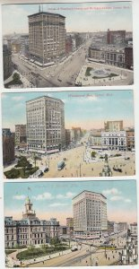 P2070  3 dif old postcard woodward ave detroit mich 2 dated 1909 stamps