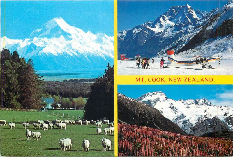 Mount Cook and Glentanner Station New Zealand butterfly stamp