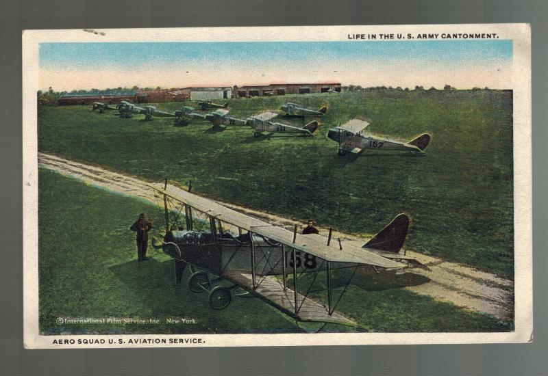1920s Mint RPPC USA postcard Air Force Army Cantonment Base Biplane Fighter
