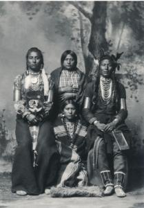Medicine Man & Old Coyote Crow Indians with Women 1883 Western USA Recent Print