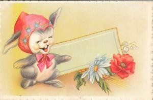 Cute bunny rabbit caricature seasonal Easter greetings postcard