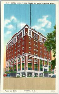 Hickory, NC Postcard HOTEL HICKORY & Tower of Radio Station WHKY Linen c1940s