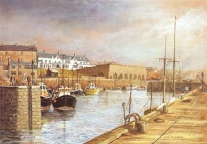 Art Postcard, SEAHOUSES, Northumberland by Edwin Blackburn, Harbour, Boats 67T