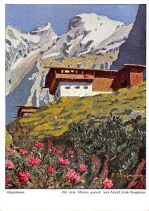 Alpenrosen, Mit dem Munde gemalt von Arnulf Erich Stegmann, signed
