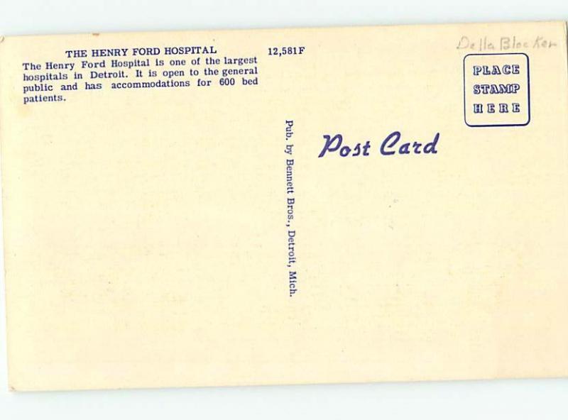 Unused Linen HOSPITAL SCENE Detroit Michigan MI W2812